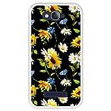 Hapdey Funda Transparente para [ Alcatel One Touch Pop C7 ] diseño [ Patrón Floral, Flores Multicolores 2 ] Carcasa Silicona Flexible TPU