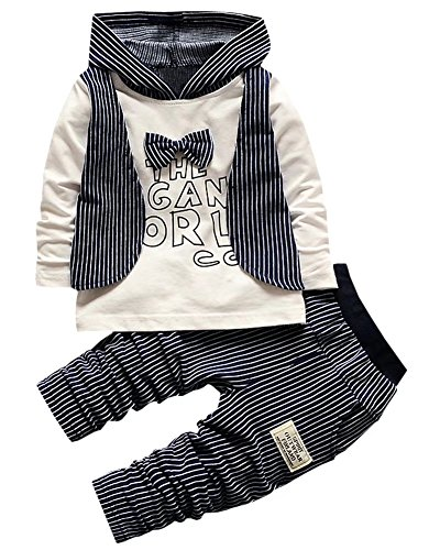 Kids Pin Stripes Outfit, Long Sleeves Bow Tie T Shirt with Hooded Hoodie Waistcoat + Jogger Pants Tuxedo Suit for Toddler Baby & Little Boys, Navy Blue 2-3 Years = Tag 100