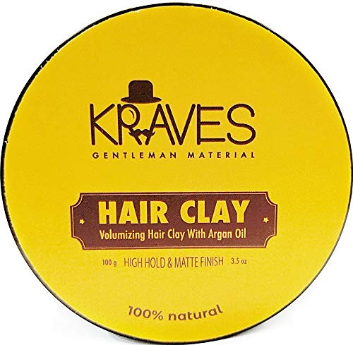 KRAVES 100% Natural Hair clay hair wax for men with High Hold & Matte Finish (hair clay wax 100 g), Made in India