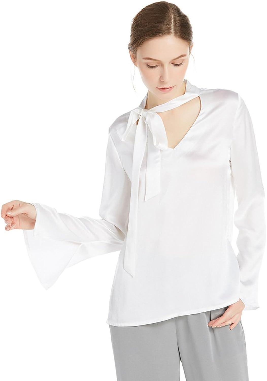 LilySilk 22MM V Neck Bow Tie Silk Blouse Ladies Top Women Shirt