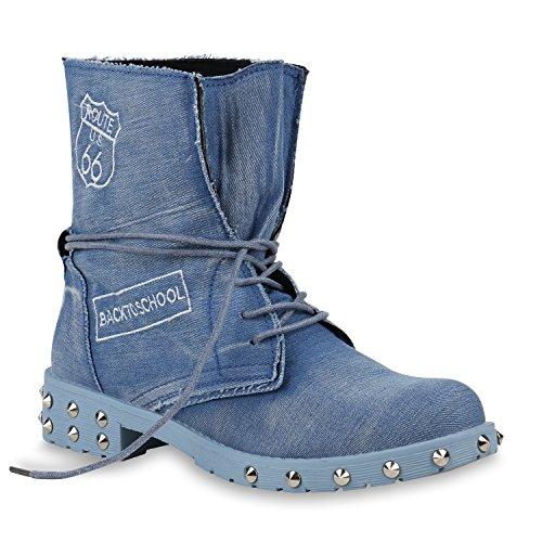 stiefelparadies Damen Stiefeletten Schnürstiefeletten Denim Schuhe Nieten Derbe Boots Prints Schnürboots 154010 Hellblau Carlton 36 Flandell
