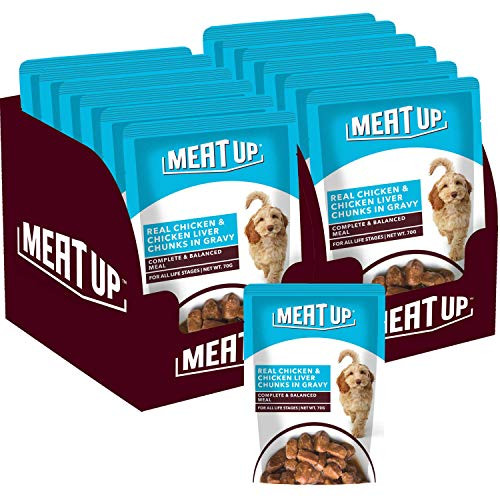 Meat Up Wet Dog Food, Real Chicken and Chicken Liver Chunks in Gravy, 6 Pouches (6 x 70g) - Buy 1 Get 1 Free