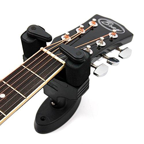 Matte zwarte automatische muurbevestiging akoestische gitaarhanger voor Gibson, Ibanez, Tanglewood, Yamaha & Fender akoestische gitaren met gewatteerde armen - automatische open & sluiten functie (bemanningen inbegrepen)