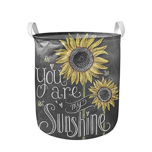 Belidome Cubo de almacenamiento grande con asas, organizador de lona suave, plegable, fácil de llevar, You are My Sunshine