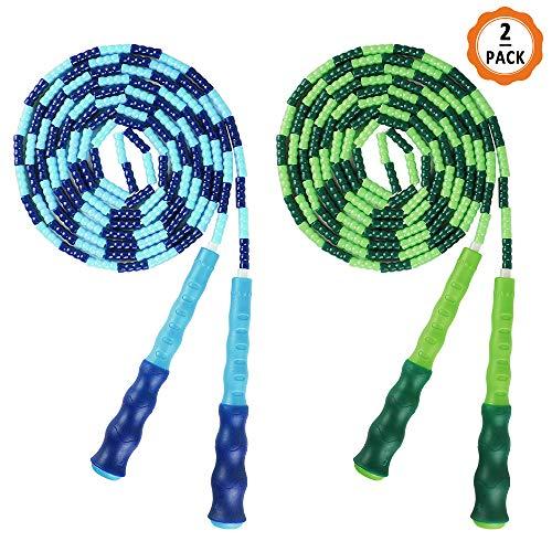 Ledoo Springseil 2Pcs Verstellbare Springseil für Erwachsene & Kinder, Weiche Springseil mit Perlen für Sport Fitniss Training(2.8m)