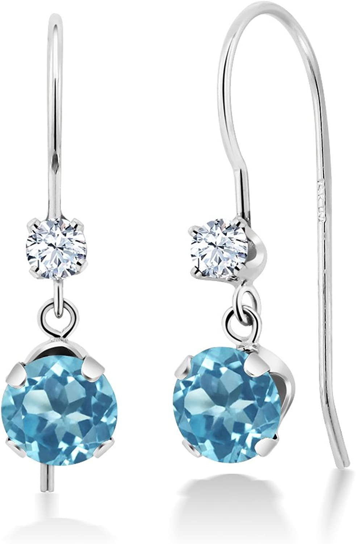 1.30 Ct Round Swiss bluee Topaz 14K White gold Earrings