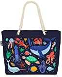 VOID Animales Marinos Peces Cangrejo Ballena Bolsa de Playa 58x38x16cm 23L Shopper Bolsa de Viaje Compras Beach Bag Bolso