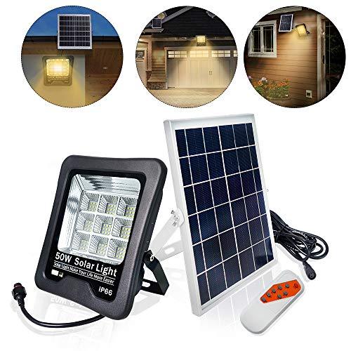 UISEBRT 50W LED Solar Strahler Solarlampe Außen - LED Flutlicht Solarleuchten Sicherheitsleuchte Warmweiß Wasserdicht IP66 für Garage, Garten, Hotel, Sportplatz, Patio (50W, Warmweiß)