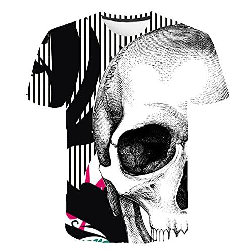 Camiseta de Calavera 3D de Manga Corta Camisetas geniales 3D para Hombre Camiseta de Calavera y Tibias Cruzadas Personalizada para Hombres 3XL
