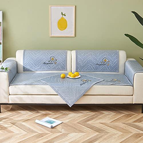 KENEL L Form Couchbezug, Sesselbezug couchbezug l Form Sommermatte Besticktes Sofakissen-45 * 45 cm Kissenbezug_Blau-Verkauft in stück