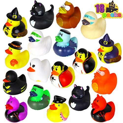 JOYIN 18 Halloween Fancy Novelty Assorted Rubber Ducks for Fun Bath Squirt Squeaker Duckies, School Classroom Toy Prizes Ducky, Trick or Treat Fillers Party Favor.