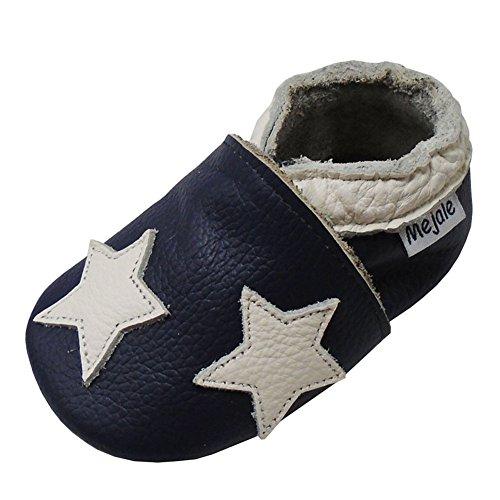 Mejale Chaussons Enfant Bébé en Cuir Doux-Chaussons Cuir Souple-Chaussures Premiers Pas-Dessin animé Étoiles, Bleu Marine, 24-36 mois/6.2 pouce (Taille Fabricant: XXL)