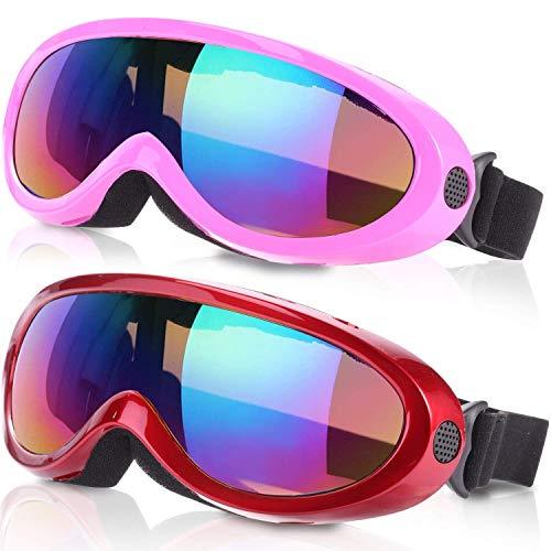 Noorlee anteojos de esquí,gafas de snowboard para niños,niños y niñas,jóvenes,hombres y mujeres, con protección UV 400,resistencia al viento,lentes antirreflejos,Pink Multicolor/Red Multicolor