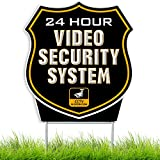 24 Hour SHIELD Video Surveillance Sign - Home Security CCTV System in Operation Yard Sign (Black Coroplast)