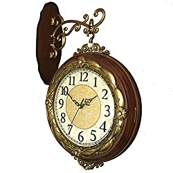 Janning Clocks Vintage Double Sided Wall Clock,Mute Solid Wood Wall Clock Two-Sided Clock European Antique Quartz Clock