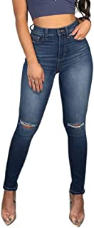 TENGFU Women's Juniors Mid-Rise Distressed Slim Fit Stretchy Skinny Jeans Jegging