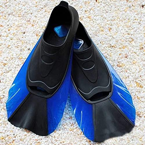 Sgxiyue Foot Pocket Short Swimming Fins Snorkeling Flippers Underwater Diving Fins (Color : Blue, Size : Medium-M)