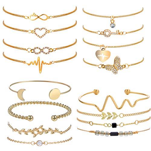 Jbniuay 16 Stück Gold Armbänder Set Einstellbar Armreifen Welle Blätter Zirkonia Herz Infinity Armkettchen Schmuck Set für Damen Mädchen