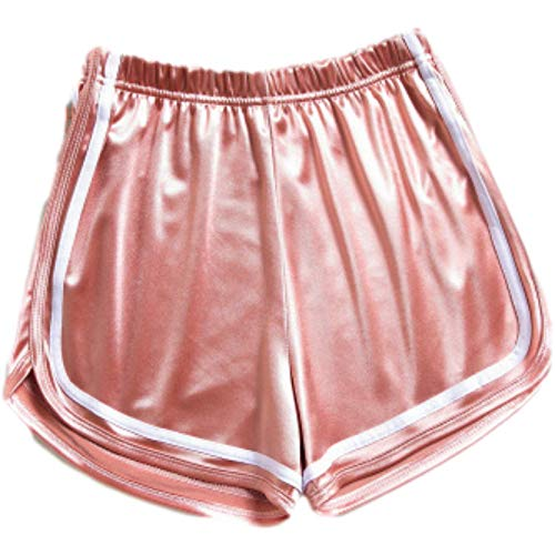 Pantalones Cortos para Mujer Verano Estilo Europeo y Americano Moda Todo fósforo Cordón Brillante Cintura elástica Pantalones Cortos Deportivos Deportivos M
