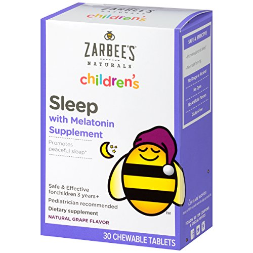 Zarbee's Naturals Children's Sleep Chewable Tablet with Melatonin, Natural Grape Flavor, 30 Chewable Tablets