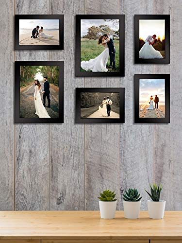 Bajarang Creations Set of 6 Individual Black Wall Photo Frames || Mix Size || (2 Units of 6 X 8, 4 Units of 4 x 6,),Inches ||