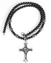 316L Titanium Staal Skull Cross Black Onyx Ketting...