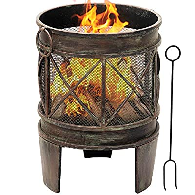 Amagabeli Outdoor Fire Pit for Garden 23Inch Fire Bowl with Spark Screen and Poker Extra Large Deep Rustproof Fire Brazier Wood Burning Fire Basket Portable by Amagabeli Garden Home
