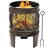 Amagabeli Fire Pit Outdoor Wood Burning Cast Iron Firebowl Fireplace Heater Log Charcoal Burner Extra Deep Large Round Camping Outside Patio Backyard Deck Heavy Duty Metal Grate Bronze