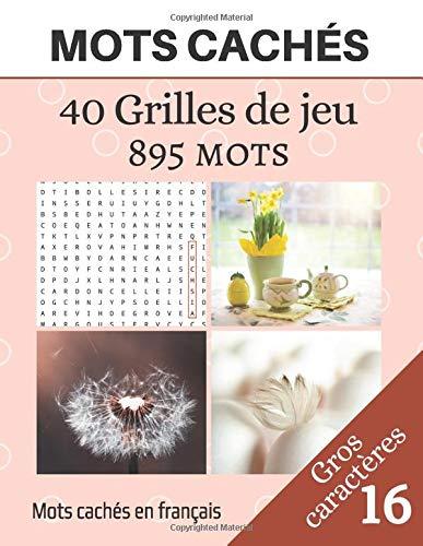 Mots cachés - 40 Grilles de jeu - 895 mots: Mots mêlés et solutions - Sans thème précis - Jeu pour adultes - Gros caractères et Grandes tailles - volume 16