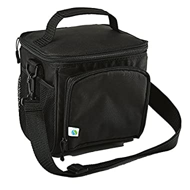 Fit & Fresh Small Cooler Bag & Lunch Box, Insulated with Adjustable Shoulder Strap, 6-can Cooler Bag for Adults & Kids, Black