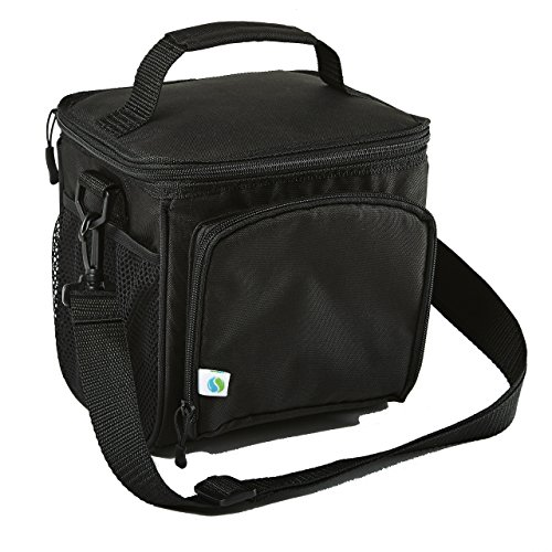 Fit & Fresh Small Cooler Insulated Tote Soft Sided Thermal Bag for Men/Women/Work/Lunch/Fishing/Golfing/Beach/Camp/Picnic, Black