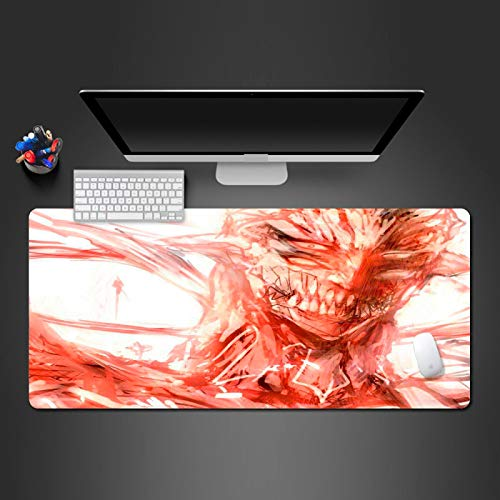 AUYTQ Extended XXL Gaming Mouse Pad Red Bloody Movie Characters 90X40 cm Large Anime Mousepad with Stitched Edges,Non-Slip Rubber Base Waterproof Keyboard Mouse Mat Desk Pad for Work, Game, Office