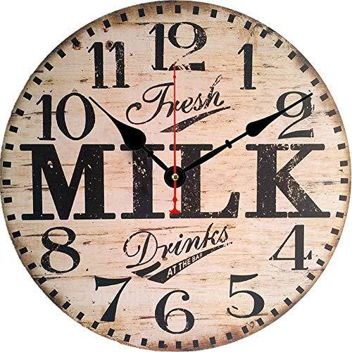 Große Vintage Runde Holzwanduhr Von MDF, Shabby Chic Style Uhr Geeignet Lautlos, Nicht Tickend Für Wohnzimmer Küche Und Schlafzimmer Durchmesser 34 Cm,I