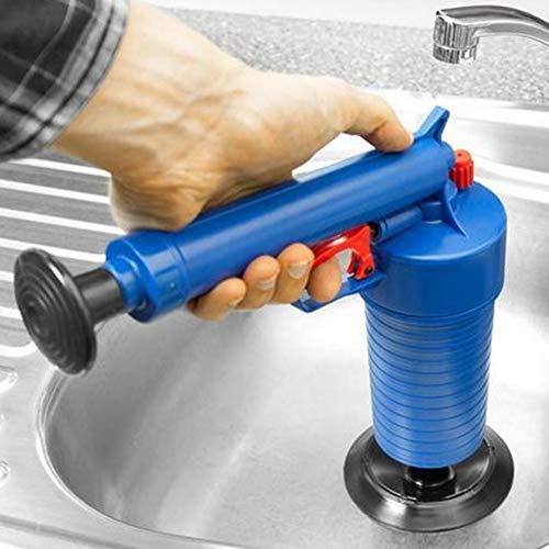 wastafel riool reinigingsgereedschap, opblaasbare toilet lucht hoge druk afvoer zuiger zuiger Dredge met 4 zuigerkoppen voor wc badkamer, keuken, vloer afvoer, afvoerbak Blue