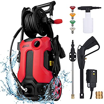 7800CU Cleaning Ability Electric Pressure Washer 3800 Max PSI 2.8 Max GPM 2000W High Pressure Power Washer Cleaner Machine with Hose Reel, Telescopic Rod, 4 Nozzles, Foam Cannon (Red)