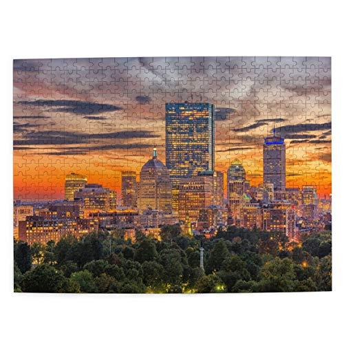 MAYUES Puzzle 500 Pezzi decomprimente Giocattolo Orizzonte del Centro di Boston Massachusetts USA sopra Gioco per Famiglie per Bambini Adulti