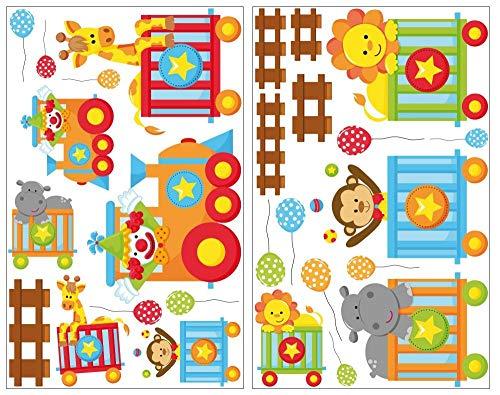 Samunshi® 27 pièces ensemble Train Sticker mural animaux Lion Girafe Sticker mural pour chambre d'enfant 2x 16x26cm