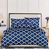 Utopia Bedding 3PC Duvet Cover Set 1 Duvet Cover with 2 Pillow Shams - Comforter Cover with Zipper Closure - Soft Brushed Microfiber - Shrinkage & Fade Resistant, Easy Care (Queen, Quatrefoil Navy)