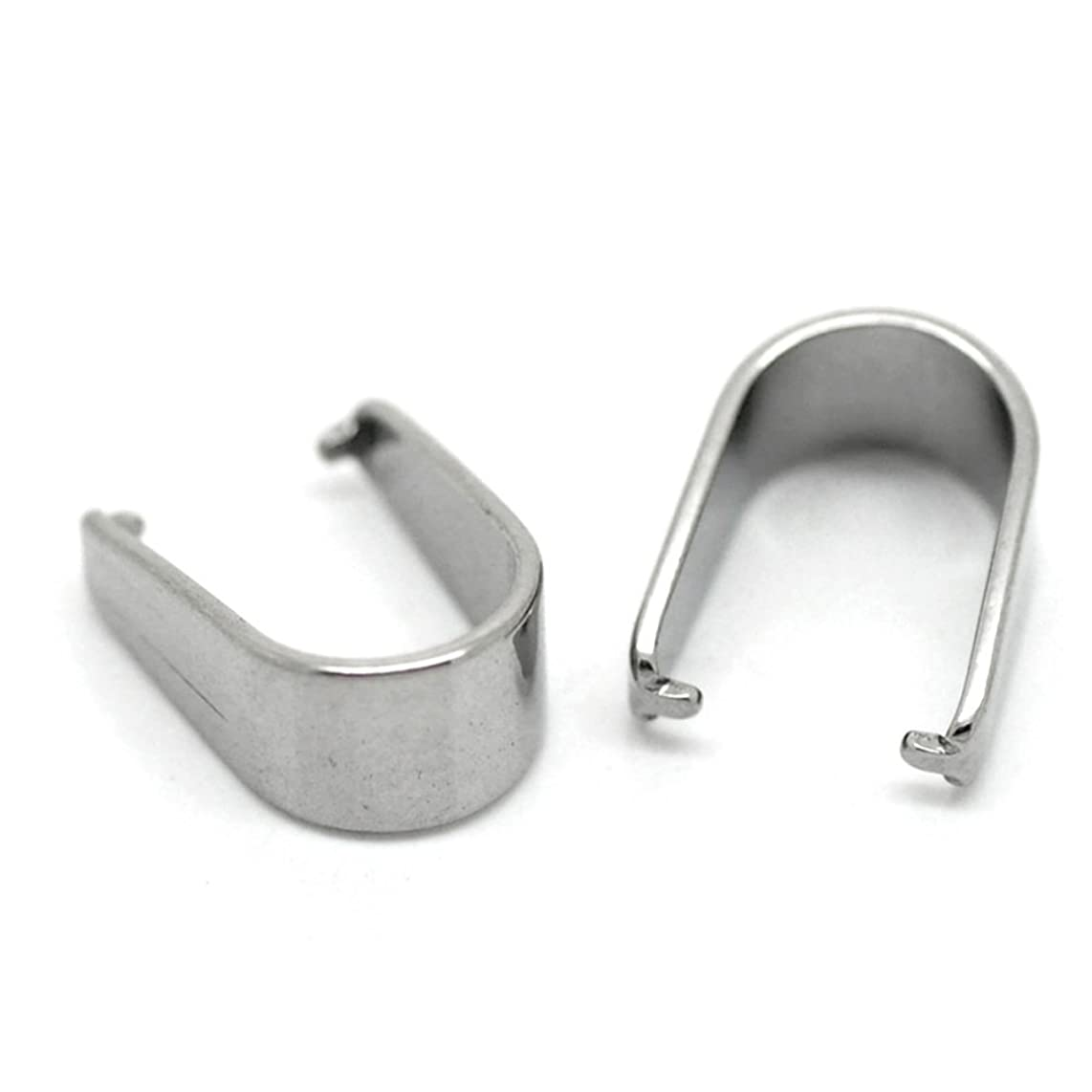 Housweety 30PCs Silver Tone Stainless Steel Pinch Clips Bail Connectors Findings 13mmx10mm
