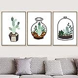Yegnalo Nórdico Verde Cactus Planta Lienzo Pintura Pared Arte Cartel Lienzo para Sala de Estar decoración del hogar