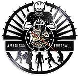 ZZBBQ Vinyle Horloge Murale Joueur de Football Disque Vinyle Sport vestiaire décoration Murale Design Rugby Silencieux Montre Football Cadeau