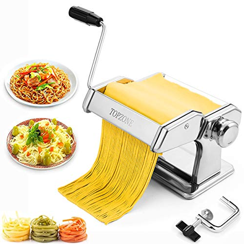 Pasta Machine,Tooluck Manual Pasta Maker Machine with 2 in 1 Dough Cutter and 7 Adjustable Thickness Setting for Homemade Pasta,Spaghetti, Fettuccini, Lasagna Or Dumpling Skins,Best Kitchen Gift Set