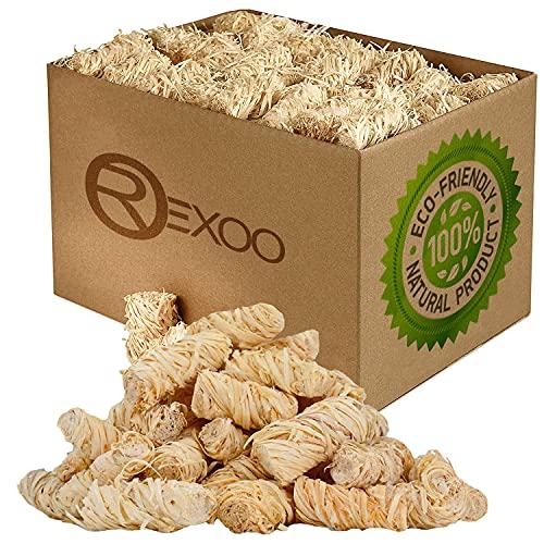 REXOO 5kg Bio Kaminanzünder Anzünder Holzwolle Anzündwolle Grillanzünder Feueranzünder Anzündhilfe Wachs Öko (Grill-, Kamin- & Ofenanzünder) - umweltfreundlich