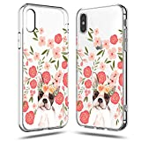 iPhone Xs Case,iPhone X Case Women,Girls Cute Funny Puppy Dog Impact Animal Print French Bulldog Pink Flowers Floral Daisy Roses Blooms Trendy Lovely Clear Soft Case Compatible for iPhone Xs/X