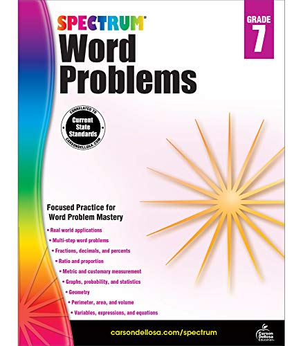 Spectrum Grade 7 Math Word Problems Workbook—7th Grade State Standards for Geometry, Percents and Statistics, Perimeter, Area and Volume for Classroom or Homeschool (128 pgs)