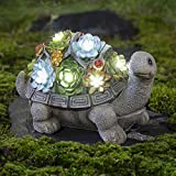 GIGALUMI Turtle Garden Figurines Outdoor Decor, All-Weather Resin Succulent Plants with 7 LEDs Outdoor Solar Statues for Garden,Lawn,Patio,Yard,Garden,Path,Walkway or Driveway