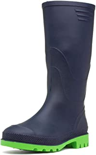 Zone - Kids Navy and Lime Wellington Boots