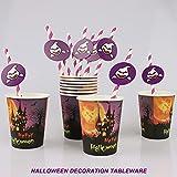 Yisscen Partygeschirr Set, 52 Stück Kindergeburtstag Tischdeko Halloween Deko Set enthält Papptelle Pappbecher Strohhalme Banner Servietten Tischdecke Halloween Tableware(Bietet Platz für 10 Gäste) - 4