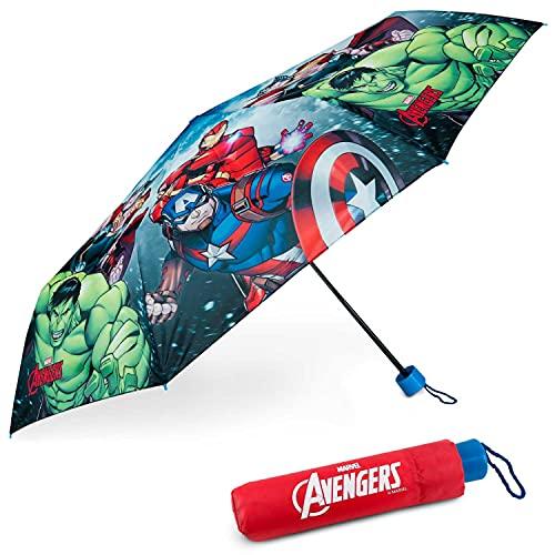 Regenschirm Kinder Avengers - BONNYCO | Regenschirm Sturmfest mit Verstärkter Struktur - Klappschirm mit für Tasche, Rucksack oder Reise | Regenschirm Klein Jungen - Geschenke für...