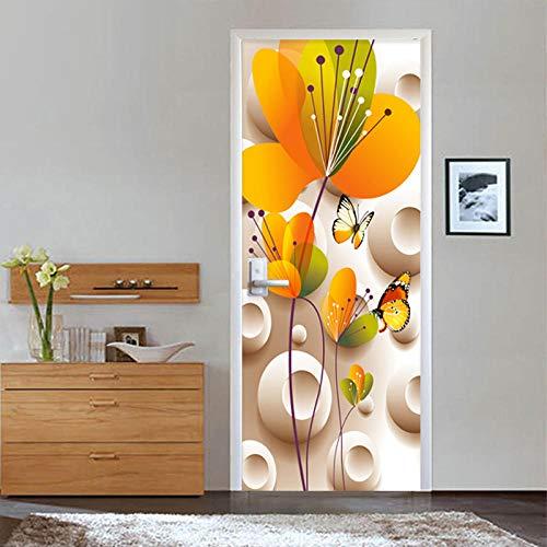 Fotobehang voor deur, 3D, zelfklevend, afneembaar, motief: wilde vlinder van de bloem, in drie maten 77 X 200 CM